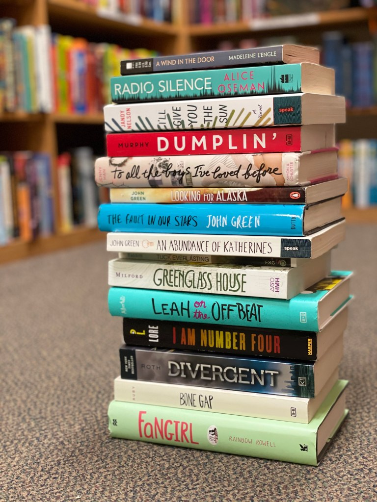 A stack of some of the books on my list, the background is a bookshelf with many books.